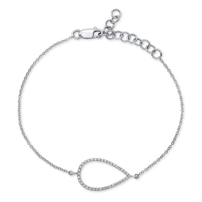 14KT White Gold Teardrop Diamond Bracelet