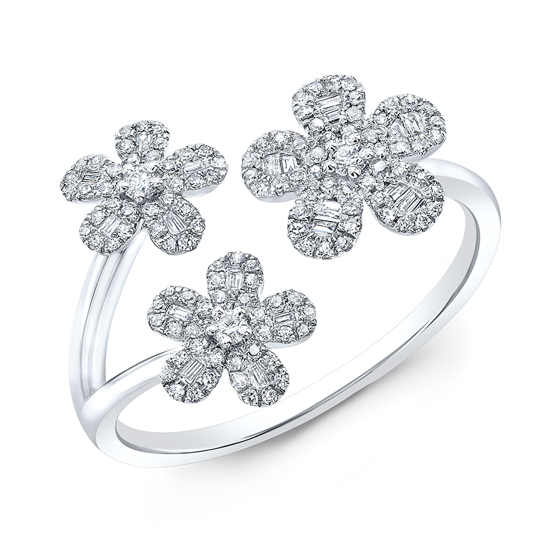 14kt White Gold 3 Flowers Diamond Ring Rings